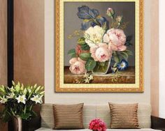 Diamond Embroidery Diamond Mosaic Flower Picture Diy Painting Needlework Flores Canvas Home Decoration Canvas Gift Embroidery Machines For Sale, Hand Embroidery Kits, Embroidery Software, Embroidery Fonts, Peacock Pictures, Flower Pictures, Image 3d, Image Link, Mosaic Crosses