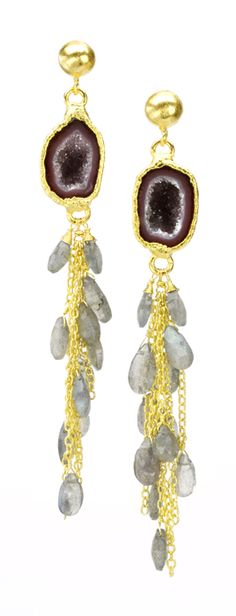 Nina Nguyen G5717E-GEO with geodes am draw cut labordorite, 22kt yellow gold vermeil dangle earrings.