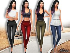 The Sims Resource: Casual High Waist Skinny Pants by Saliwa • Sims 4 Downloads