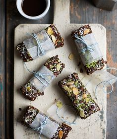 Breakfast Pep 'n' Power Bars- 1½ cups ground almonds 4 tablespoons almond butter 2 tablespoons unsweetened cocoa powder 20 medjool dates (approx 1¼ lbs with pits or 1 lb without) 10 tablespoons espresso, cooled Pinch of sea salt 2 tablespoons chia seeds Heaping 1½ cups oats 4 tablespoons dried, unsweetened coconut
