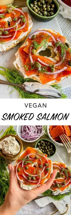If you, your family or guests are plant-based or allergic to fish, vegan smoked salmon is super easy to make with this vegan lox recipe! Seafood Appetizers Seafood Appetizers Appetizers Appetizers for a crowd Appetizers parties Veg Recipes, Delicious Vegan Recipes, Quick Recipes, Vegetarian Recipes, Appetizers For A Crowd, Meat Appetizers, Appetizer Recipes, Vegan Smoked Salmon Recipe, Recipe Using Carrots