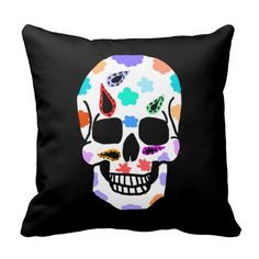 Decorated Skull Throw Pillow