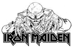 """Eddie (mascote da banda Iron Maiden) foi criado por Derek Riggs, no single """"Running Free"""", como um zumbi demoníaco e magro, que se baseou em uma propaganda de guerra publicada durante a Guerra do Vietnã. Com o sucesso do personagem ele acabou se tornando a capa do primeiro álbum da banda."""
