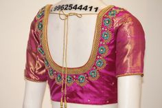 The Bridal Boutique in Chennai - Designer bridal boutique & Tailoring Wedding Saree Blouse Designs, Half Saree Designs, Blouse Designs Silk, Choli Designs, Blouse Patterns, Sleeve Designs, Embroidery Blouses, Aari Embroidery, Embroidery Neck Designs