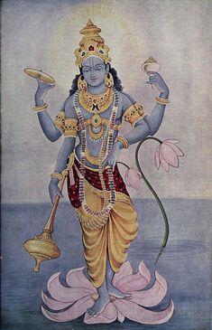 Kaumodaki is the gadā of the Hindu god Vishnu. Vishnu is often depicted holding the Kaumodaki in one of his four hands; Mysore Painting, Krishna Painting, Krishna Art, Lord Krishna, Radhe Krishna, Hanuman, Silk Painting, Painting Tips, Painting Art