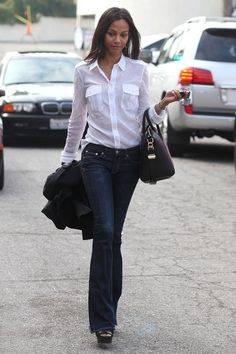 A classic combination - jeans and a white shirt. Only wear one with breast pockets if you are modestly endowed.
