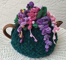 NEW Handmade Tea Cozy Wisteria Violet/Pink Flowers From Ukrainian Designer