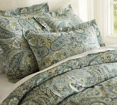 Bella Paisley Duvet Cover & Sham - Blue   Pottery Barn Cotton Percale, on sale 64.99 full/queen.