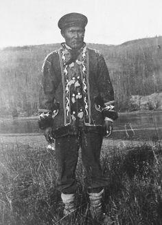 Albert Maggie wearing a chief's coat. Nenana, c1918.