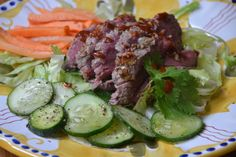 GINGER AND GARLIC-MARINATED STEAK WITH PICKLED CUCUMBERS