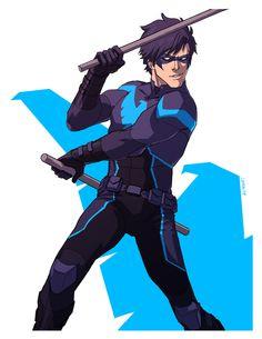 Nightwing by Sottapop. Son Of Batman, Batman Family, Batman Art, Batman Robin, Batman Arkham, Nightwing Cosplay, Nightwing And Batgirl, Harley Quinn, Richard Grayson
