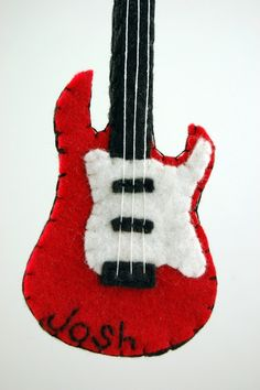 Personalized Electric Guitar Felt Ornament Made to Order by Tumus Christmas Ornaments To Make, How To Make Ornaments, Christmas Projects, Handmade Christmas, Holiday Crafts, Felt Projects, Felt Ornaments Patterns, Felt Patterns, Felt Crafts