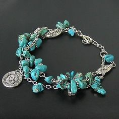 New in Tibet Style Tibetan Silver Turquoise Bracelet