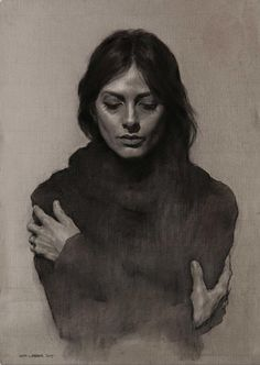 Eran Webber, female portrait and torso charcoal and chalk drawing, 2013, FAA instructor. Beautiful rendering.
