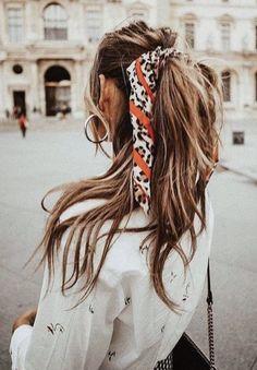 bandana ponytail | brunette hair | long hair ideas
