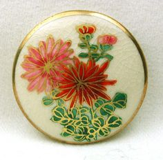 Vintage Satsuma Button Pink & Red Floral Design w/ Gold Accents