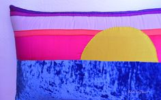 Sunset Pillow. Blue Crushed Velvet Pillow. Pink Silk Pillow. Purple Silk Pillow. Yellow Silk Pillow. Body Pillow. Lumbar Pillow. #Handmade #DecorativePillows #ThrowPillows #AccentPillows #Homedecor  #Pillowcovers #Design #Homedesign #Art  #FamilyRoom #DesignerPillows #BedPillow #CouchPillow #BeautifulHome #PillowCover #Sunset #Sunsetpillow #Bluevelvet #Bluehomedecor #Fuschiapillow #yellowpillow  #pinkpillow