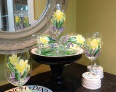 Handpainted Wine Glass- Yellow Daffodils with Wild Violets (Set of 4) 7.5''