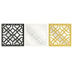 Set of 3 Black Yellow and White Geometric Medallion Square Wall Mirrors 16 *** This is an Amazon Affiliate link. See this great product.