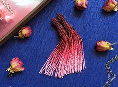 Tassel earrings, Oscar de la Renta tassel earrings, beaded tassel earrings, Oscar de la Renta earrings, beaded tassel, pink ombre earrings