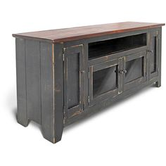 Media Console Tv Stand Reclaimed Wood Farmhouse Entertainment Console... ($695) ❤ liked on Polyvore featuring home, furniture, storage & shelves, entertainment units, console tables & cabinets, grey, home & living, living room furniture, rustic tv stand and reclaimed wood media console