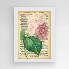 Dictionary flower print Vintage flower by photoplasticon on Etsy