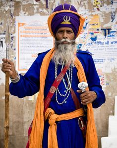 Members of the Nihang, a military order in the Sikh religion also known as the Akali (The Eternal) and the Akal Sena (The Army of the Eternal). Renowned for their strict discipline, courage, and ma…