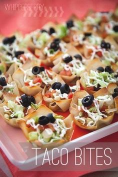 Whipperberry: Little Bug Baby Shower /// Food Elements: Taco Bites Finger Food Appetizers, Appetizers For Party, Appetizer Recipes, Snack Recipes, Cooking Recipes, Baby Shower Appetizers, Baby Shower Finger Foods, Baby Shower Food Easy, Appetizer Ideas