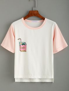 White Print Contrast Trim Dip Hem T-shirt -SheIn(Sheinside)