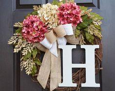 Summer Wreath, Burlap Wreath,Front Door Wreath,Grapevine Wreath,Farmhouse Wreath,Cream Hydrangea Wreath,Mother's Day Gift,Housewarming Gift