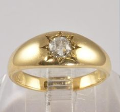 Wedding Ring Antique 15KT Gold Wedding Band Diamond   Etsy Antique Wedding Rings, Antique Rings, Diamond Wedding Bands, Diamond Engagement Rings, European Cut Diamonds, Gold Wedding, Sterling Silver Earrings, Diamond Cuts, Gold Rings