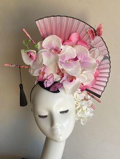 Geisha, Headpiece Wedding, Bridal Headpieces, Fascinators, Floral Headdress, Crazy Hats, Wedding Hair Pieces, Floral Hair, Hair Ornaments