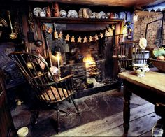 Dennis Severs' 18thC home in Spitalfields; Kitchen, basement level, decorated for the holidays