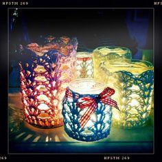 pretty crochet jar cozys - pattern here  http://www.naturenutnotes.com/2011/01/crochet-votive-tutorial.html