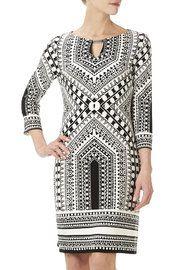 Monochrome Scarf Print Tunic Dress