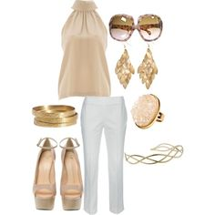 So summer chic. white pants, gold and nude top and heels.