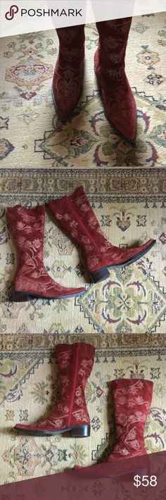 Burgundy suede boots with beautiful thread detail Burgundy/red suede pointed toe boots with gold thread detail.  1 3/4 inch heels. Just beautiful. Size 39/9 used Shoes Heeled Boots