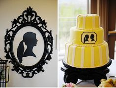 yellow silhouette cake