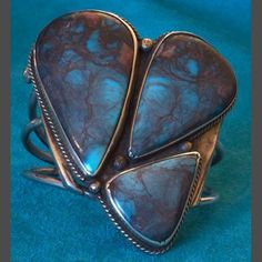 Cuff bracelet | Mark Chee.  Smokey Bisbee Turquoise and silver. ca. 1930s