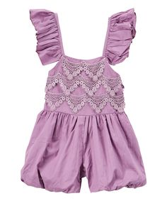 Look at this Lilac Purple Lace-Accent Angel-Sleeve Romper - Infant & Kids on #zulily today!