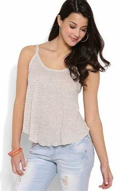 Deb Shops #Striped #Sweater Knit Trapeze Tank Top $10.00