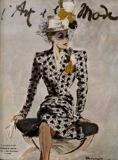 * L'art et la mode juillet 1944 dessin de Mourgue ensemble de Raphaël dans un façonné de Bianchini-Férier