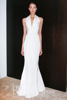 Brides: J. Mendel - Spring 2016. Halter V-neck mermaid wedding dress, J.Mendel