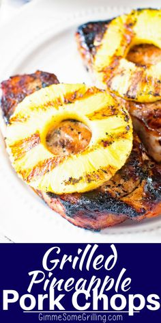 Pineapple Pork Chops - Gimme Some Grilling ® Tender, juicy grilled pork chops that are marinated in a sweet brown sugar marinade. Then topped with a grilled pineapple ring. These Grilled Pineapple Pork Chops are full of flavor and so easy! Easy Pork Chop Recipes, Pork Recipes, Cooking Recipes, Salmon Recipes, Chicken Recipes, Barbecue Recipes, Easy Grill Recipes, Hibachi Recipes, Healthy Grilling Recipes