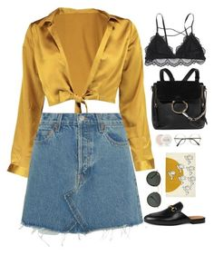 """""""Untitled #2914"""" by wtf-towear ❤ liked on Polyvore featuring Boohoo, RE/DONE, Chloé, Gucci, Fresh, Ray-Ban and Kaleen"""