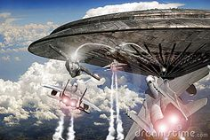 Several F15 fighter planes and several UFO coming out from a giant flying saucer, fighting over clouds.