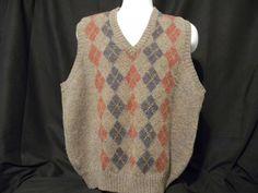 Vintage Lord Jeff Plaid Sweater Vest Men's Large 100% Shetland Wool Ireland  #LordJeff #Vest