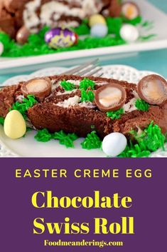 This Easter Creme Egg Swiss Roll has a delicious whipped creamy Cadbury Easter Creme egg filling wrapped up in a light and airy sponge cake then covered in chocolate frosting and adorned with Easter creme eggs and mini eggs. It's a fun and whimsical cake No Cook Desserts, Healthy Dessert Recipes, Cake Recipes, Baking Recipes, Chocolate Sponge Cake, Chocolate Frosting, Chocolate Chip Recipes, Mint Chocolate Chips, Frosting Without Butter