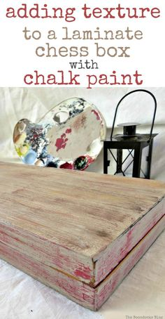 adding texture to a laminate box with chalk paint, Finished backgammon laminate box painted to look like old wood, Seeing Red theboondocksblog.com