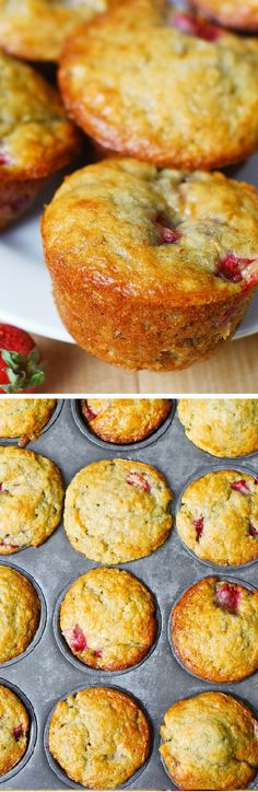 Only cup butter (and cup Greek yogurt) used to make 12 regular size muffins. Greek yogurt creates a rich texture and reduces the amount of saturated fats used! Strawberry Banana Bread, Strawberry Muffins, Banana Bread Muffins, Baking Muffins, Dessert Bread, Dessert Recipes, Desserts, Easy Healthy Breakfast, Sweet Recipes